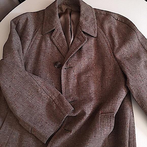 VTG Burberry Men's Wool Trench Coat Long Tweed
